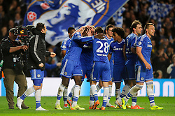 Chelsea players celebrate at the final whistle after a dramatic 2-0 win to progress to the semi-final - Photo mandatory by-line: Rogan Thomson/JMP - 07966 386802 - 08/04/2014 - SPORT - FOOTBALL - Stamford Bridge, London - Chelsea v Paris Saint-Germain - UEFA Champions League Quarter-Final Second Leg.- Photo mandatory by-line: Rogan Thomson/JMP - 07966 386802 - 08/04/2014 - SPORT - FOOTBALL - Stamford Bridge, London - Chelsea v Paris Saint-Germain - UEFA Champions League Quarter-Final Second Leg.