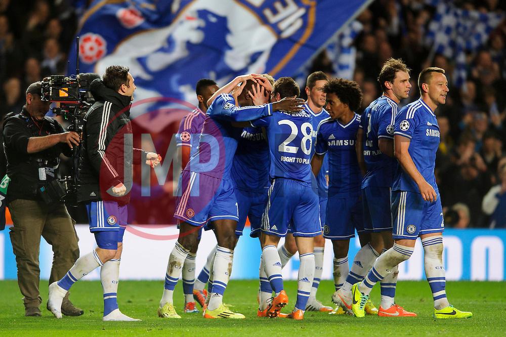 Chelsea players celebrate at the final whistle after a dramatic 2-0 win to progress to the semi-final - Photo mandatory by-line: Rogan Thomson/JMP - 07966 386802 - 08/04/2014 - SPORT - FOOTBALL - Stamford Bridge, London - Chelsea v Paris Saint-Germain - UEFA Champions League Quarter-Final Second Leg.- Photo mandatory by-line: Rogan Thomson/JMP - 07966 386802 - 08/04/2014 - SPORT - FOOTBALL - Stamford Bridge, London - Chelsea v Paris Saint-Germain - UEFA Champions League Quarter-Final Second Leg.