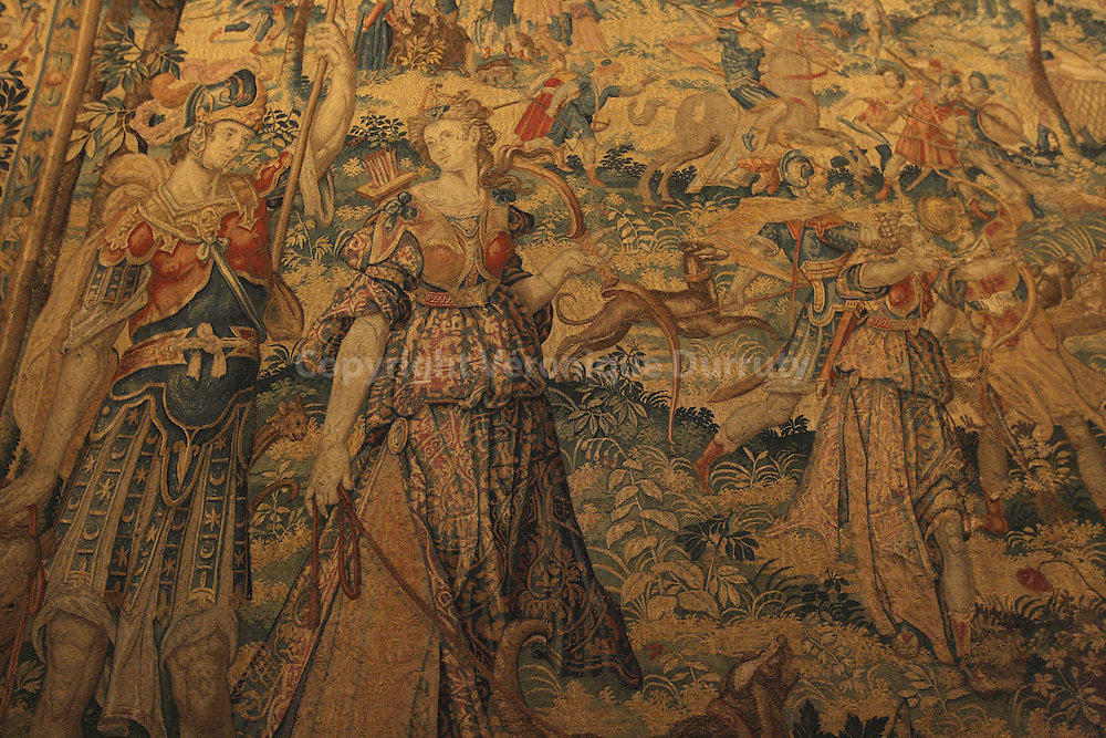 RIJKSMUSEUM, AMSTERDAM, NETHERLANDS : Queen and huntress chaste and fair, part of The Rijksmuseum's Diana tapestries. In 2006, the Rijksmuseum in Amsterdam acquired three tapestries with themes from Ovid's Metamorphoses. They are part of a series, three of which were already in the museum's collection. The tapestries were designed around 1600 by Karel van Mander, who first worked in Oudenaarde but became better known after he moved to Haarlem. The whole series was woven in Delft, in the atelier of Frans Spiering, who was also originally from the Southern Netherlands. Through illustrations and engravings by Van Mander, the exhibition shows the passion for mythology that was displayed at the time.