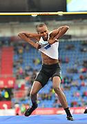 Mutaz Essa Barshim (QAT) celebrates after winning the high jump at 7-9 3/4 (2.38m) during the 57th Ostrava Golden Spike track and field meeting in a IAAF World Challenge event at Mestsky Stadium in Ostrava, Czech Republic, Wednesday, June 13, 2018. (Jiro Mochizuki/Image of Sport)
