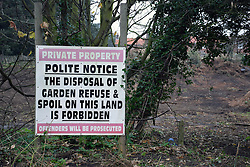 Sign warning against dumping, Thorpeness, Suffolk, UK