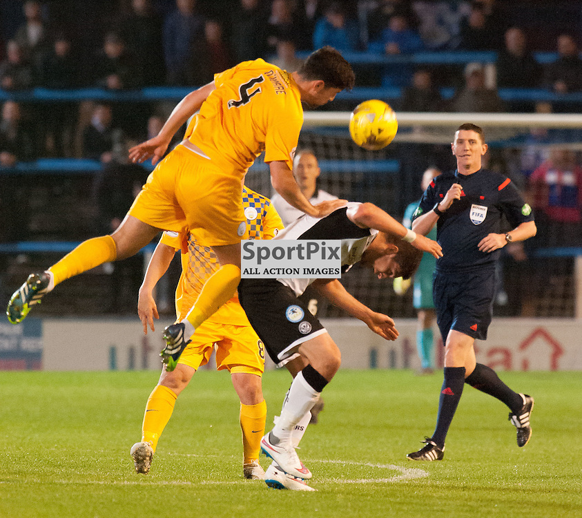 #4 Thomas OÕWare (Greenock Morton) beats #9 Steven MacLean (St Johnstone) to the ball. Greenock Morton v St Johnstone, Scottish League Cup, 27 October 2015. © Russel Hutcheson | SportPix.org.uk