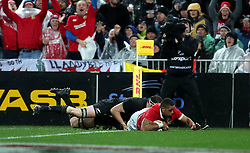 British and Irish Lions' Taulupe Faletau dives in to score his sides first try during the second test of the 2017 British and Irish Lions tour at Westpac Stadium, Wellington.