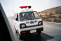 Pakistan, Karachi, 2004. Edhi ambulances are dispatched to the scene of every tragedy, from road accidents to natural disasters.