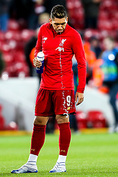 Roberto Firmino of Liverpool spits water - Mandatory by-line: Robbie Stephenson/JMP - 11/03/2020 - FOOTBALL - Anfield - Liverpool, England - Liverpool v Atletico Madrid - UEFA Champions League Round of 16, 2nd Leg