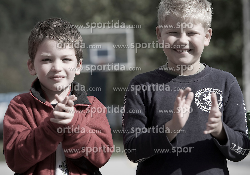 Boys on the playing court.   (Photo by: Vid Ponikvar / Sportal Images).