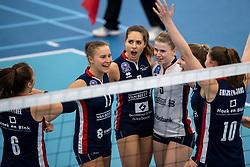 20-01-2019 NED: Talent Team Papendal - Sliedrecht Sport, Ede<br /> Round 15 of Eredivisie volleyball. Sliedrecht Sport win 3-0 (14-25, 14-25, 20-25) of Talent Team / (L-R) Ana Rekar #11 of Sliedrecht Sport, Esther van Berkel #7 of Sliedrecht Sport, Florien Reesink #5 of Sliedrecht Sport