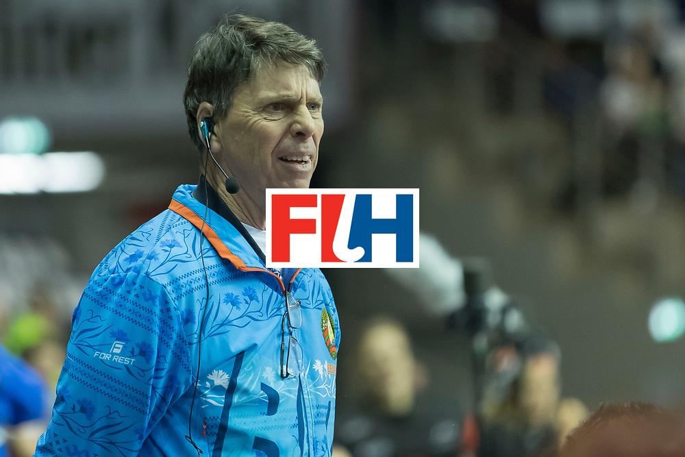 Hockey, Seizoen 2017-2018, 10-02-2018, Berlijn,  Max-Schmelling Halle, WK Zaalhockey 2018 WOMEN, Belarus - Australia 5-2, Headcoach Herman Kruis WORLDSPORTPICS COPRYRIGHT WILLEM VERNES