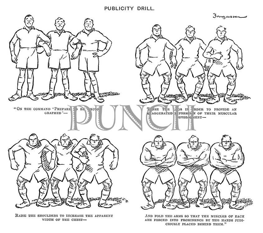"Publicity Drill. ""On the command 'prepare to be photographed' — Tense the legs in order to provide an exaggerated impression of their muscular development — Raise the shoulders to increase the apparent width of the chest — And fold the arms so that the muscles of each are forced into prominence by the hands judiciously placed behind them."""