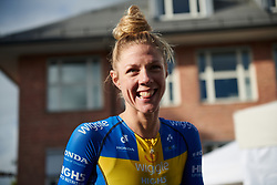 Second place finisher, Emilia Fahlin (SWE) backstage at Ladies Tour of Norway 2018 Stage 1, a 127.7 km road race from Rakkestad to Mysen, Norway on August 17, 2018. Photo by Sean Robinson/velofocus.com