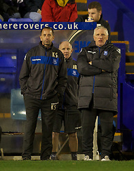 BIRKENHEAD, ENGLAND - Tuesday, March 6, 2012: Tranmere Rovers' new manager Ronnie Moore with assistants Kevin Summerfield and John McMahon during the Football League One match against Notts County at Prenton Park. (Pic by David Rawcliffe/Propaganda)