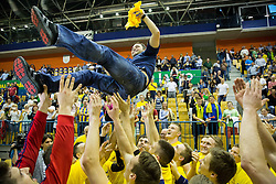Players of Celje PL celebrate with Branko Tamse, head coach after winning during handball match between RK Celje Pivovarna Lasko and RK Gorenje Velenje in 3rd Round of Final of 1st NLB League and Slovenian National Handball Championship 2014/15, on May 28, 2015 in Arena Zlatorog, Celje, Slovenia. RK Celje Pivovarna Lasko won 3rd time and became Slovenian National Champion 2015. Photo by Vid Ponikvar / Sportida