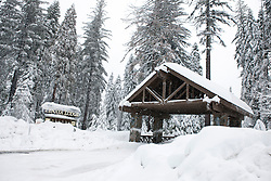 A large snow storm covers the entrance to Tenaya Lodge, outside Yosemite National Park, California, United States of America