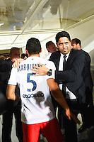 Joie PSG Champion - MARQUINHOS / Nasser AL KHELAIFI - 16.05.2015 - Montpellier / Paris Saint Germain - 37eme journee de Ligue 1<br />Photo : Alexandre Dimou / Icon Sport