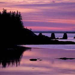 Acadia N.P., ME. Isle Au Haut. Duck Harbor. Sunset.