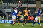David Marshall (c) (Cardiff City) catches the ball from a corner during the Sky Bet Championship match between Hull City and Cardiff City at the KC Stadium, Kingston upon Hull, England on 13 January 2016. Photo by Mark P Doherty.