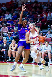 NORMAL, IL - January 05: McKenna Sims follows the baseline defended by Lola Bracy during a college women's basketball game between the ISU Redbirds and the Purple Aces of University of Evansville January 05 2020 at Redbird Arena in Normal, IL. (Photo by Alan Look)