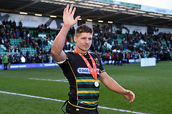 Piers Francis of Northampton Saints celebrates with the crowd after the match - Mandatory byline: Patrick Khachfe/JMP - 07966 386802 - 17/03/2019 - RUGBY UNION - Frankin's Gardens - Northampton, England - Northampton Saints v Saracens - Premiership Rugby Cup Final