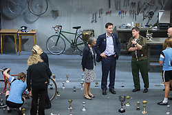 "© Licensed to London News Pictures . 03/07/2014 . Leeds , UK . The Deputy Prime Minister , NICK CLEGG MP , on the stage during a tour of the West Yorkshire Playhouse in Leeds today (Thursday 3rd July 2014) . The Liberal Democrat leader and MP for Sheffield Hallam meets cast and crew of production of Maxine Peake's "" Beryl "" based on the life of Beryl Burton , pioneering woman cyclist . Photo credit : Joel Goodman/LNP"