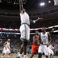 14 May 2012: Boston Celtics power forward Kevin Garnett (5) grabs a defensive rebound during the Philadelphia Sixers 82-81 victory over the Boston Celtics, in Game 2 of the Eastern Conference semifinals playoff series, at the TD Banknorth Garden, Boston, Massachusetts, USA.