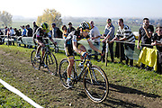 Belgium, November 1 2015:  Jolien Verschueren (#5) leads Femke Van den Driessche (#10) during the women's elite race at the Koppenbergcross 2015 cyclocross event.<br />