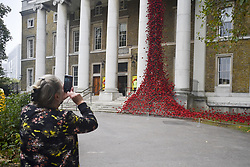 October 5, 2018 - London, United Kingdom - Members of the public look at an installation entitled 'Weeping Window' which comprises of several thousand handmade ceramic poppies cascading down the front of the Imperial War Museum, London on October 5, 2018. (Credit Image: © Alberto Pezzali/NurPhoto/ZUMA Press)