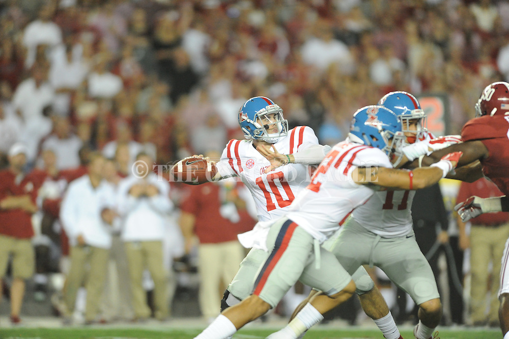 Ole Miss Rebels quarterback Chad Kelly (10) vs. Alabama Crimson Tide at Bryant-Denny Stadium in Tuscaloosa, Ala. on Saturday, September 19, 2015. Ole Miss won 43-37.