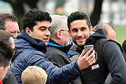 Andrew Surman (6) of AFC Bournemouth having a selfie with a fan on arrival at the Vitality Stadium before the Premier League match between Bournemouth and Arsenal at the Vitality Stadium, Bournemouth, England on 14 January 2018. Photo by Graham Hunt.