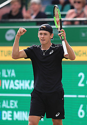Alex de Minaur celebrates victory in his semi final match with Ilya Ivashka during day six of the Nature Valley Open at Nottingham Tennis Centre.