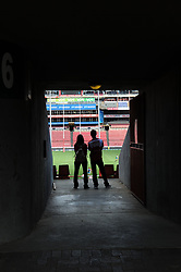 070418 Emirates Airlines Park, Ellis Park, Johannesburg, South Africa. Super Rugby. Lions vs Stormers. Two rugby fans at one of the entrances to the grounds.<br />Picture: Karen Sandison/African News Agency (ANA)