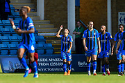 Gillingham FC midfielder Elliott List (15) scores a goal (1-1) and points to the sky during the EFL Sky Bet League 1 match between Gillingham and Coventry City at the MEMS Priestfield Stadium, Gillingham, England on 25 August 2018.