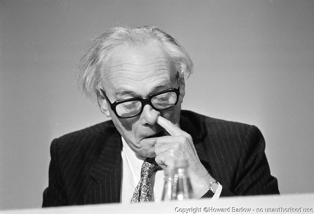 NICHOLAS RIDLEY on the Conservative Party platform, Brighton 1988.  The picture made the front page of the Nort West Times, rather cruel, but he was the Cabinet Minister responsible for the introduction of the Community Charge or poll tax, during the Thatcher government.  Becoming Baron Ridley of Liddesdale he died in 1993.<br /> Photograph &copy; Howard Barlow
