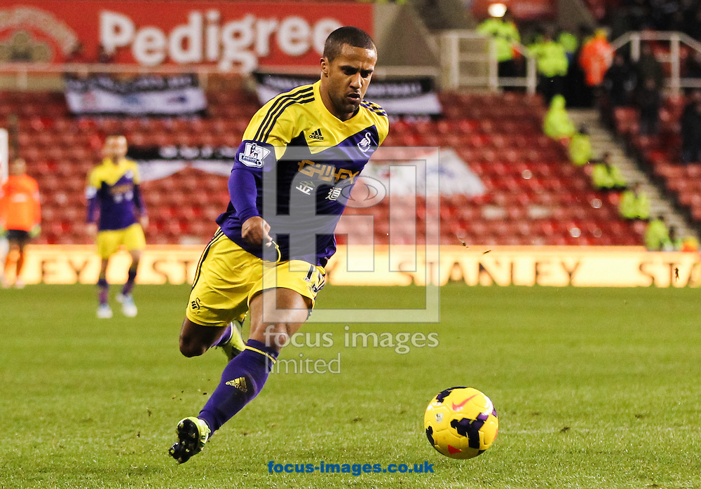 Wayne Routledge of Swansea City runs with the ball during the Barclays Premier League match at the Britannia Stadium, Stoke-on-Trent<br /> Picture by Tom Smith/Focus Images Ltd 07545141164<br /> 12/02/2014