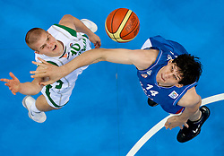 Edo Muric of Slovenia vs Boban Marjanovic of Serbia during basketball game between National basketball teams of Slovenia and Serbia in 7th place game of FIBA Europe Eurobasket Lithuania 2011, on September 17, 2011, in Arena Zalgirio, Kaunas, Lithuania. Slovenia defeated Serbia 72 - 68 and placed 7th. (Photo by Vid Ponikvar / Sportida)