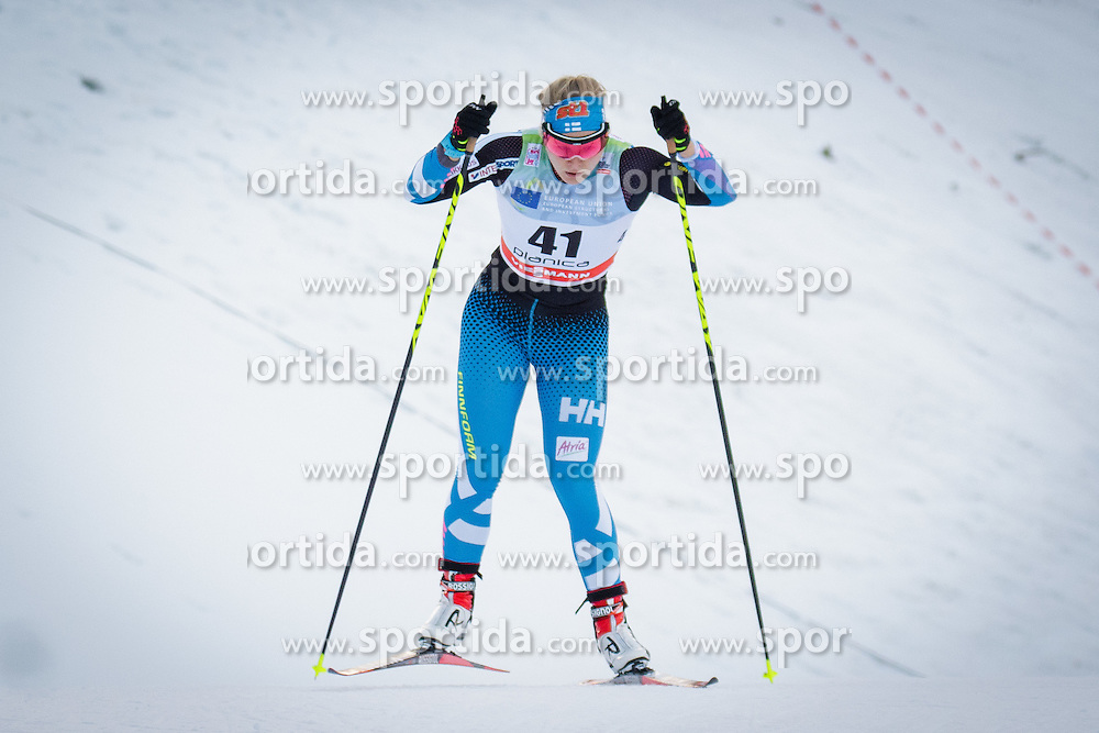 Leena Nurmi (FIN) during Ladies 1.2 km Free Sprint Qualification race at FIS Cross<br /> Country World Cup Planica 2016, on January 16, 2016 at Planica,Slovenia. Photo by Ziga Zupan / Sportida