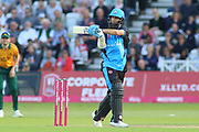 Moeen Ali of Worcestershire Rapids pulls the ball for four during the Vitality T20 Blast North Group match between Nottinghamshire County Cricket Club and Worcestershire County Cricket Club at Trent Bridge, West Bridgford, United Kingdon on 18 July 2019.