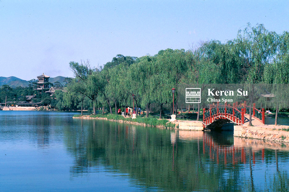 Arch bridge on the lake in the Imperial Summer Villa, Chengde, Hebei Province, China
