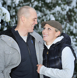 "CHELTENHAM-ENGLAND, DECEMBER 21- Britian's Zara Phillips and her fiance Mike Tindall at their Gloucestershire home, after they announced their engagement. The Queen's granddaughter said she was left ""shocked"" but ""very happy"" when her long-term boyfriend and England rugby player proposed."