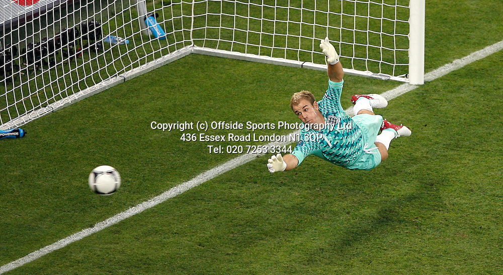 11/06/2012 European football championships. France v England.<br /> England goalkeeper Joe Hart dives to save the ball.<br /> Photo: Mark Leech.