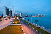 Sunset view of Cinta Costera  bayside roaad and city skyline. Panama City, Panama, Central America.