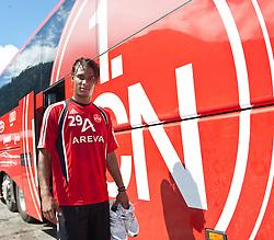 31.07.2010, Stadion, Kaprun, AUT, 1. FC Nürnberg Training, im Bild Rubin Okotie (1. FC Nürnberg, # 26), im Hintergrund das Logo des 1. FCN, EXPA Pictures © 2010, PhotoCredit: EXPA/ J. Feichter / SPORTIDA PHOTO AGENCY