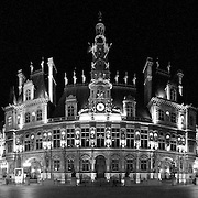 Panoramic shot of Hotel de Ville in Paris at night. NB: Contains some film grain.