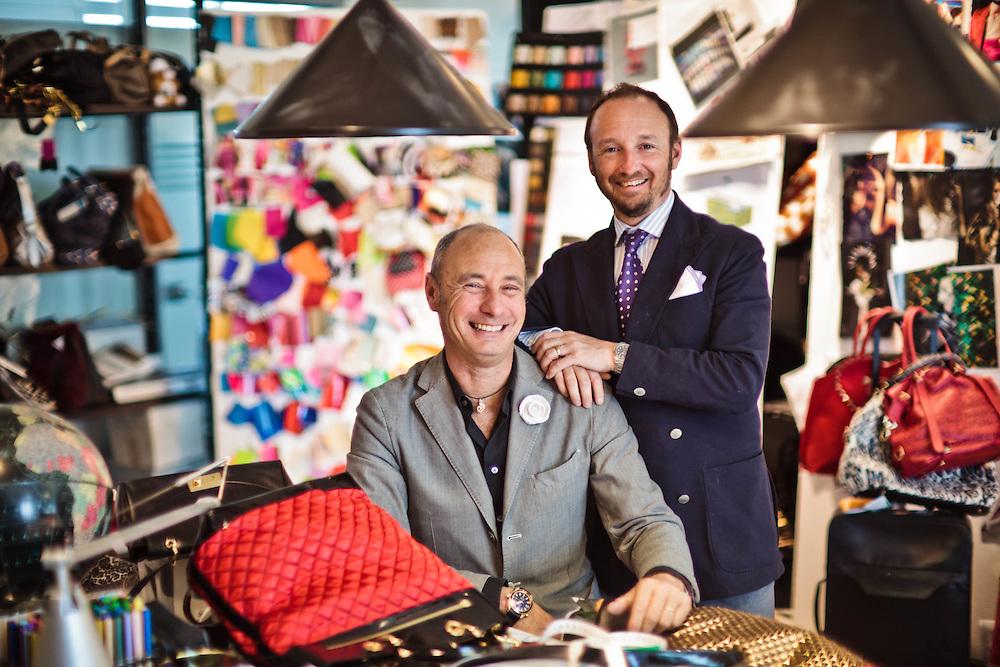 05 MAY 2011 - Scandicci (FI) - Lorenzo Braccialini, dir. marketing, con il fratello Massimo Braccialini, dir. creativo e stilista, della Braccialini