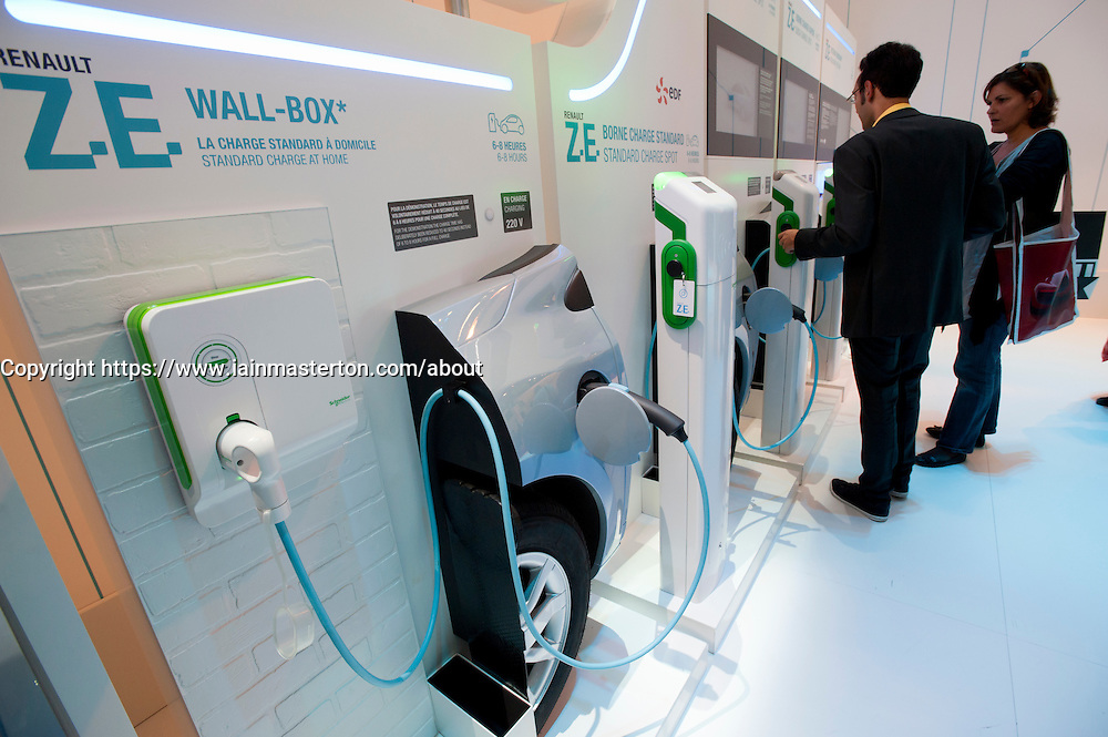 Detail of plug-in electric car charging stations for Renault electric cars at Paris Motor Show 2010