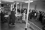 26/09/1962<br /> 09/26/1962<br /> 26 September 1962<br /> Opening of Earl Bottlers Ltd. at South Earl Street, Dublin. Minister for Justice Charles Haughey opened the new premises that produced Sandyman port. Mr Haughey addressing the guests and staff from a barrel pedestal.