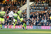 Fulham striker Floyd Ayite (11) has a shot on goal during the EFL Sky Bet Championship match between Fulham and Reading at Craven Cottage, London, England on 3 December 2016. Photo by Andy Walter.