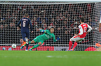 Football - 2016 / 2017 UEFA Champions League - Group A: Arsenal vs. Paris Saint-Germain<br /> <br /> Olivier Giroud of Arsenal scores from the penalty spot past goalkeeperAlphonse Areola at The Emirates.<br /> <br /> COLORSPORT/ANDREW COWIE