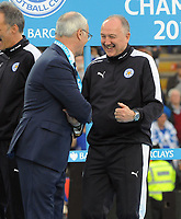 Football - 2015 / 2016 Premier League - Leicester City vs. Everton<br /> <br /> Leicester City manager, Claudio Ranieri shares a joke with assistant Manager and head of Recruitment Steve Walsh during the presentation at the King Power Stadium.<br /> <br /> COLORSPORT/ANDREW COWIE