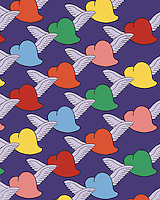 Clipart illustration of colorful cartoon hearts with cute wings attached.