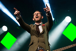 © Licensed to London News Pictures . 07/11/2015 . Manchester , UK . GREG CHURCHOUSE playing with Scouting for Girls ahead of the Christmas Lights switch on , in Albert Square in front of Manchester Town Hall . Photo credit : Joel Goodman/LNP